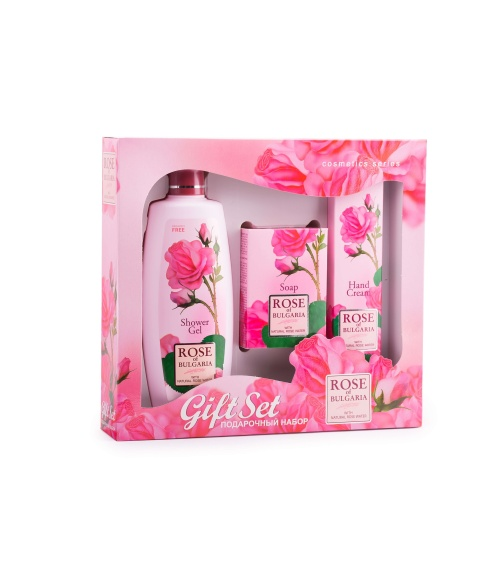Gift Set For Women with Shower Gel,Natural Rose Soap, Hand Cream